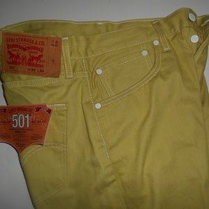 NWT Levis 501 Original Fit Button Fly Yellow Men